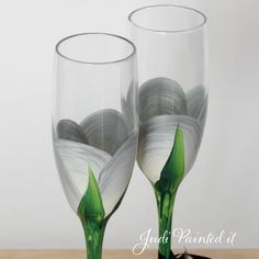 25th Anniversary Champagne toasting flutes in a by JudiPaintedit, $45.00