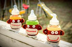 Cute monkey baby bottle covers by bellafemmeco on Etsy, $14.99