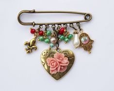 Hamsa Charm brooch charm collection brooch safety pin by SuesArts, $24.00