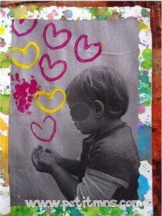 Portrait fête des mères (cœur au papier toilette, cadre à l'encre)