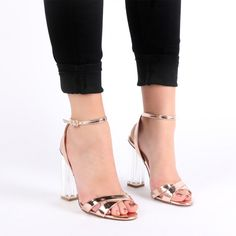 c40973154fa Arielle Perspex Heel Cut Out Sandals in Rose Gold