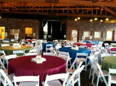 Different colors of table linens are a great idea for a fun event.  Historic 1625 Tacoma Place Snuffin's Catering