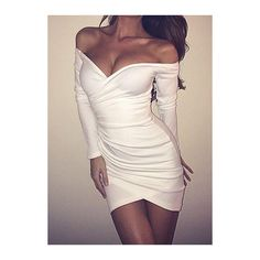 9d7ce94e6de4 Rotita White Off The Shoulder Long Sleeve Bodycon Dress ( 18) ❤ liked on  Polyvore