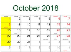 October 2018 Calendar USA - Printable With Holidays Usa Holidays, Holidays And Events, 2018 Holiday Calendar, Canada Holiday, October, Printables, Print Templates