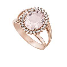 Anel Ouro Rosé Diamante e Quartzo Alvorada Menor