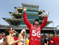 Dario Franchitti, three time winner of the Indianapolis 500 at the Indianapolis Motor Speedway.