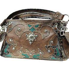 Brown Western Cowgirl Women Purse Handbag Concho Rhinestones Stud