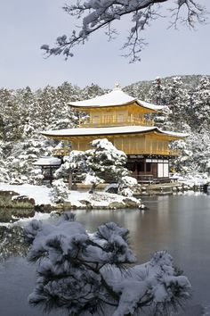 Snow in Golden Pavilion Temple (Kinkaku-ji Temple ), Kyoto, Japan Temple Architecture, Japanese Architecture, Life Is Beautiful, Beautiful Places, Japanese Temple, Tokyo City, Visit Japan, Kyoto Japan, Winter Scenes