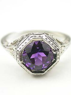 Amethyst Antique Engagement Ring, ca. 1935 or later