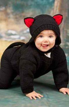 Baby Black Cat Costume: #knit #knitting #free #pattern #freepattern #freeknittingpattern #knittingpattern