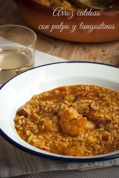 arroz caldoso con pulpo y langostinos Couscous, Epic Meal Time, Quinoa, Savory Crepes, Rice Pasta, Cooking Recipes, Healthy Recipes, Slow Food, Rice Dishes
