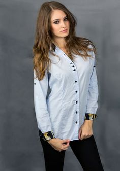 Baby blue & Silk Contrasts Shirt, Guns & Roses roll-tab sleeve Baby Blue, Shirt Blouses, Casual Shirts, Contrast, Guns, Roses, Silk, Sleeves, Collection