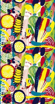 Marimekko Spring 2010 Ötökkä Fabric by Aino-Maija Metsola Motifs Textiles, Textile Prints, Textile Patterns, Textile Design, Print Patterns, Animal Patterns, Floral Patterns, Marimekko Fabric, Scandinavia Design