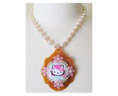 hello kitty pink head classic collage cherry blossom necklace by tarina tarantino