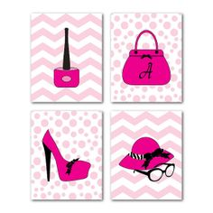 Customizable Girl's Wall Art Quad - teen tween - Monogrammed purse - Nail polish shoe hat polka dots chevron - Four 8 x 10 or larger prints