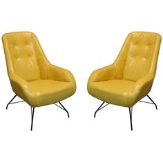 Thomas Hayes Gallery - Martin Eisler - Pair of tan leather lounge chairs by Martin Eisler - 1stdibs found on Polyvore