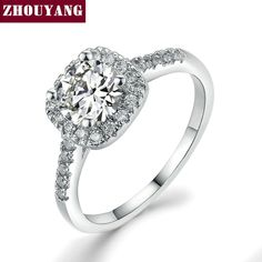 cd9c01267b76 White Gold Plated Square Ring AAA+ CZ diamond White Gold Plated Exquisite  Bijoux Fashion Square Wedding   Engagement Ring Made With AAA+ CZ diamond  Jewelry ...