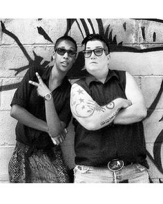 So much swag..... actress Samira Wiley and Lea DeLaria. Orange is the New Black, great tv, sunglasses, Poussey and Big Boo, b/w