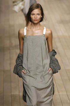 Rain these look like mens dress trousers with suspenders. Natasha Poly at Max Mara Spring Summer 2006