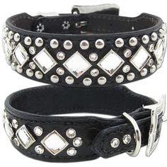 A distressed black leather studded dog collar with alligator embossing featuring clear Swarovski Crystals with antique silver studs and conchos.
