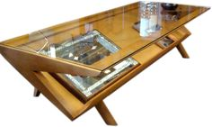 Brown Saltman Mid Century Glass Topped Coffee Table With Rack