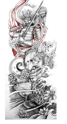 Classic Grey Ink Japanese Warrior With Hannya Tattoo Design japanese tattoo designs - Tattoos And Body Art Japanese Tattoo Art, Japanese Tattoo Designs, Japanese Sleeve Tattoos, Japanese Tattoo Sleeve Samurai, Japanese Art, Japanese Warrior Tattoo, Japanese Dragon, Bild Tattoos, Body Art Tattoos