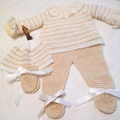 conjunto tejido de bebe recien nacido