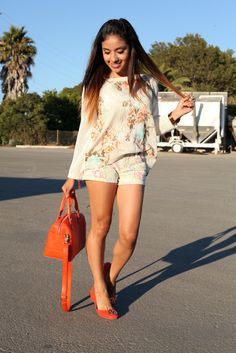 Floral Top on Floral Shorts with Orange Shoes and Handbag.  Dulce Candy Style