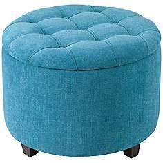 Sasha Teal Upholstered Storage Ottoman