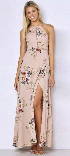 Khaki Floral Halter Maxi Slit Dress