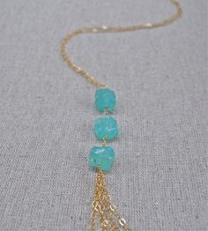 Caribbean Aqua Blue Agate Necklace by JLaurynDesign on Etsy, $42.00
