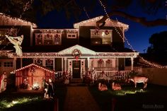 A life-sized front yard nativity scene with Christmas lights!