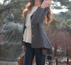 Sweet Round Collar Dovetail Dark Gray Slimming Long Sleeves Women's Coat, DEEP GRAY, ONE SIZE in Jackets & Coats | DressLily.com