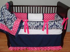 Navy and Pink crib bedding for girls | Navy Girl Baby Bedding - $319.00 : Boy Baby Bedding Crib Sets, Custom ...