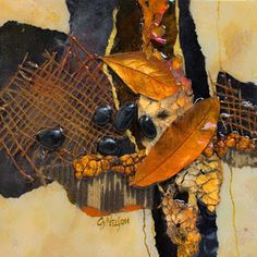"CAROL NELSON FINE ART BLOG: Abstract Mixed Media Art ""Copper Leaves"" by Colorado Mixed Media Artist Carol Nelson"