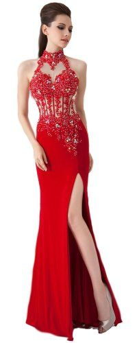 Ansen Women's Red Beaded Slit Halter Mermaid Prom Dresses Lf-a035
