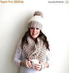 Pre-Fall SALE Scarf Hat Gloves Set Knit Pom Pom by PeonyKnits