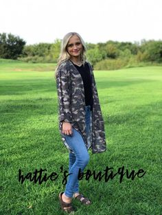 Camouflage 3/4 Sleeve Cardigan – Hattie's Boutique Camouflage, Vest, Spandex, Boutique, Sleeves, Jackets, Products, Fashion, Camo