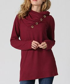 Another great find on #zulily! Burgundy Button-Accent Long-Sleeve Tunic - Plus #zulilyfinds