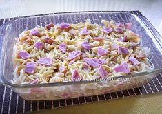 diana's cakes love: Paste cu sunca la cuptor Pasta Salad, Diana, Cabbage, Bacon, Cakes, Vegetables, Ethnic Recipes, Food, Crab Pasta Salad