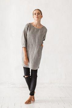Oversized natural grey straps linen tunic Linen tunic by Linenfox