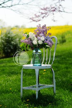 lilacs in mason jar vase