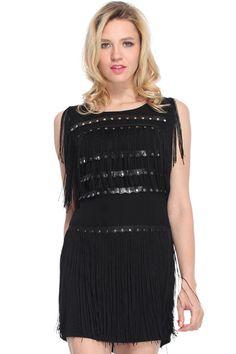 ROMWE | Golden Metal And Tassels Embellished Black Dress , The Latest Street Fashion