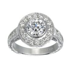 Round Diamond Luxe Bezel Halo Ring from Brilliant Earth