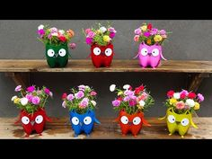 Plastic Bottle Crafts, Recycle Plastic Bottles, Diy Garden Projects, Garden Crafts, Recycled Crafts, Diy And Crafts, Quirky Decor, Beautiful Flowers Garden, Flower Embroidery Designs