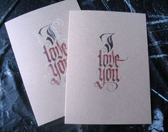 Calligraphy Valentine's Cards by Alice Young, via Behance