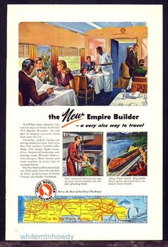 1947 GREAT NORTHERN RAILWAY Railroad AD Empire Builder Dining Car Black Waiter