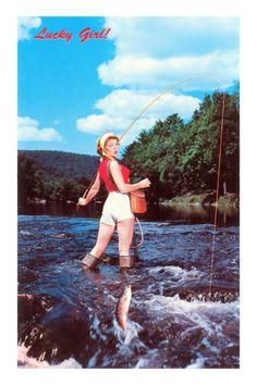 Lucky Girl! Fishing Premium Poster