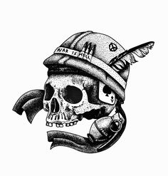 STANLEY DUKE tattoo illustration design blackwork linework dotwork pointilism stippling bold black white skull veitnam war feather peace symbol grenade soldier bullet bullets hell
