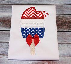 Ice Cream Tri Color Machine Embroidery Design by HappytownApplique, $4.25
